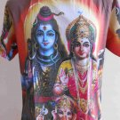 Shiva Family Men T Shirt OM Hindu India size L