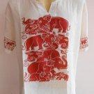 Thai Elephant Thin Cotton Meditation Men's T Shirt White XL TL06s
