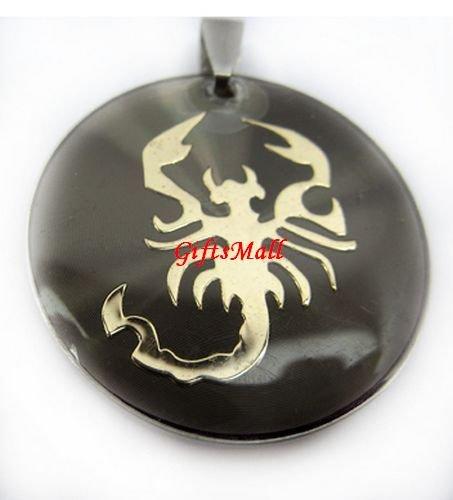 Horoscope Zodiac Constellation Sandy Beige Round Necklace Pendant Scorpio