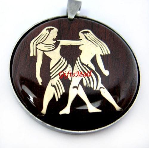 Horoscope Zodiac Constellation Red Round Necklace Pendant Gemini