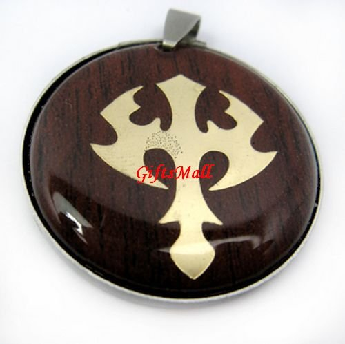 Red Round Gold Plated Crossing Charm Necklace Pendant