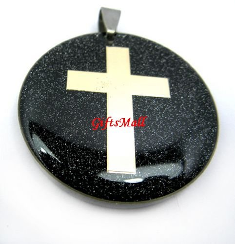 Black Round Gold Crossing Unique Necklace Pendant
