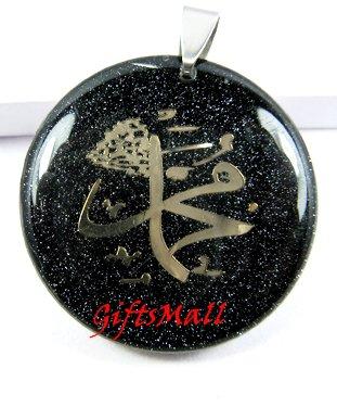 Black Round Gold Plated Unique Necklace Pendant No. 2