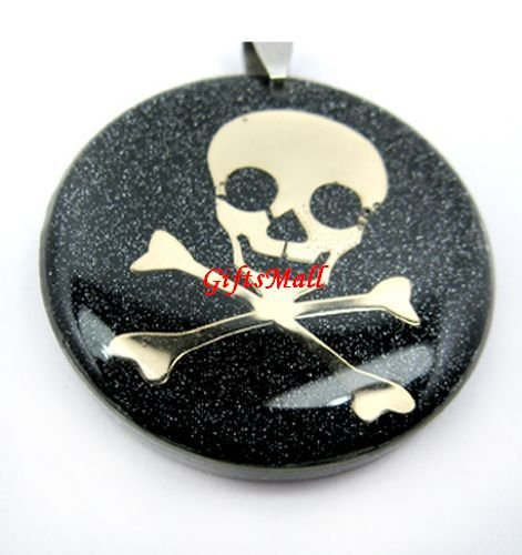 Black Round Gold Skull Necklace Pendant