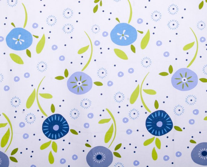 Circular flower oxford 20s//blue//cotton