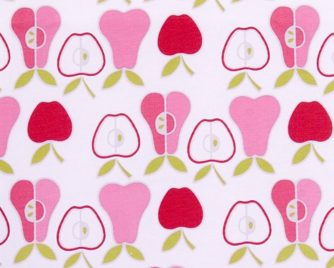Kawaii apples oxford 20s//pink and red//cotton