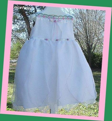 Jenny Annie Dots Girl White Nylon Portrait Dress 24 M