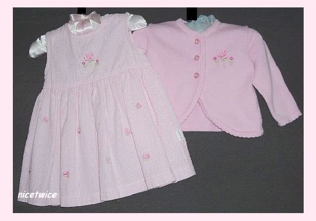 Little Me Seersucker 2 Pc Pink Dress Sweater Easter 6M