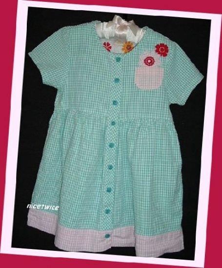 Zutano Girl Aqua Gingham Seersucker SS Dress 2