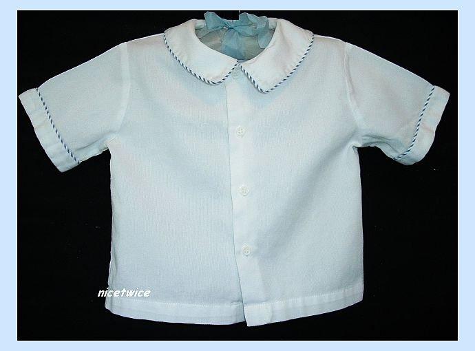 Sophie Dess Boutique Boy White SS Shirt Blue Trim 24 M