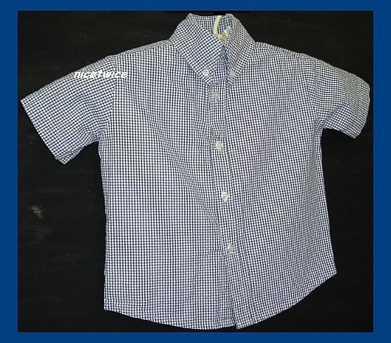 Glorimont Boy SS Blue Gingham Seersucker Shirt 2T