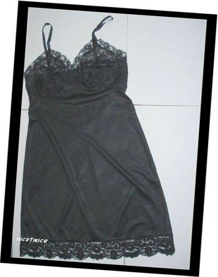 Van Raalte Ladies Black Nylon  Full Slip Lace Bodice 34