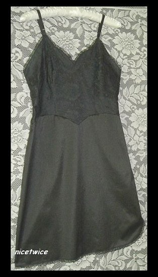 Vanity Fair Ladies Black Full Slip Lined Lace Bodice 34