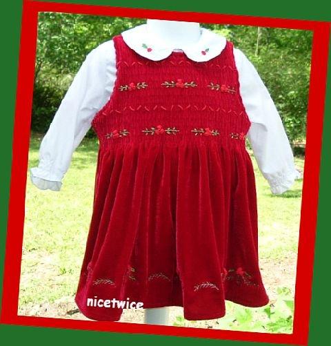 Christmas Greetings Girl Red  Shirred Dress White Blouse Set 2T
