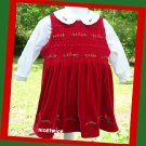 Christmas Greetings Girl Red  Shirred Dress White Blouse Set 2T