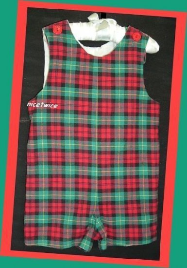 RagsLand Boy Red Green Plaid Lined Jon 18 M