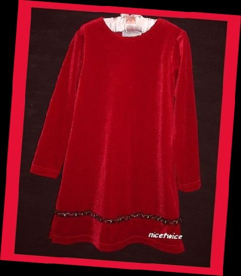 Maggie Breen Girl Red Christmas Dress Beaded Flowers 4