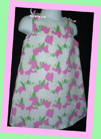 Old Navy Girl Linen Cotton Lined Dress Flowers 2T