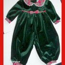 Allison Ann Girl Green Christmas Romper Red Plaid 12 M