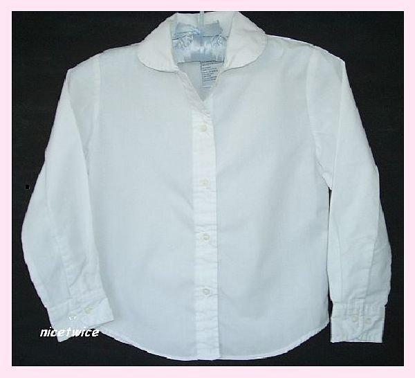 Authentic School Uniform Girl White LS Blouse 6X