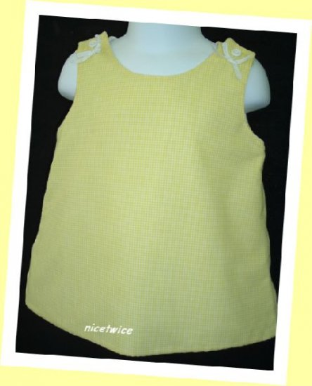 Jordan Lee Girl Yellow Gingham Checked Lined Dress 12 M