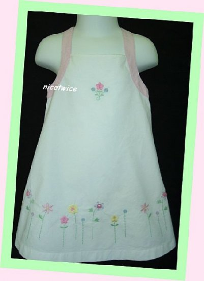 Emmas Garden Girl White Lined Sundress Flowers 2T