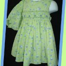 All Mine Girl Green Floral Smocked Dress Bloomer Set 18M