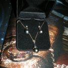 14K WG Tahitian Black Pearl NECKLACE & EARRING SET New