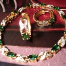 "New Vintage Faux Green EMERALD And BRACELET SET Womens Jewelry 7 11/16""Length"