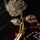 "New Designer ROSE Floral Pave' BROACH PIN Large Jewel Womens 3 3/4""L Clear Gold UPC:"