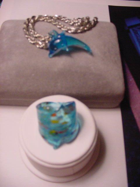 New Glass Aquarium Ring Blue Womens Men Blue Size 8   UPC