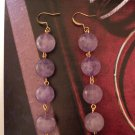 New GENUINE AMETHYST 12mm Round DANGLE EARRINGS Gold Gemstone Womens UPC