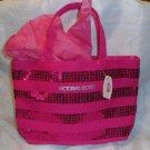Victorias Secret Pink Sequined Bling Mini Canvas Tote - Travel Bag or Handbag