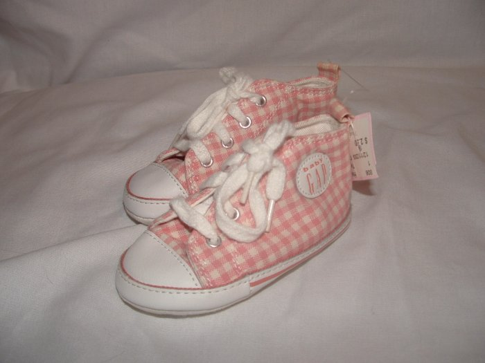 Infant Girls BABY GAP Plaid Crib Tennis Shoes Sz 3