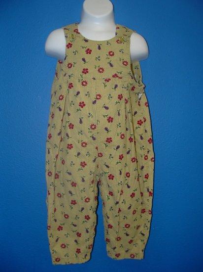 McKIDS Floral Cord Pant Overalls Size 24 Months EUC