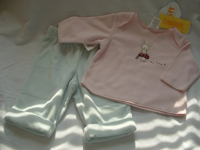 NWT Girls GYMBOREE Cozy Critters Bunny Top Pants 0-3 Mo
