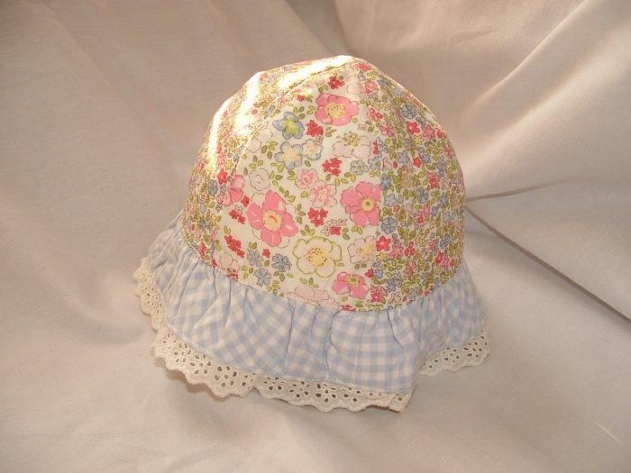 NWT Girl GYMBOREE Floral Flower Sun Hat Sz 0-3 Mo Line?