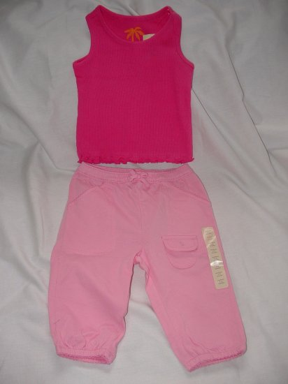 NWT Girls BABY GAP Pink Tank Pant Set LOT Sz 3-6 Months