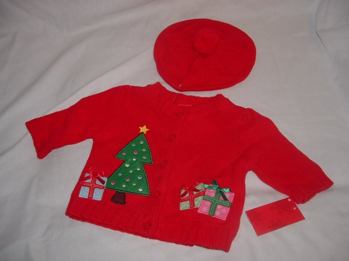 NWT Girl CHRISTMAS 2pc Cardigan Hat Sweater Set Sz 3 Mo