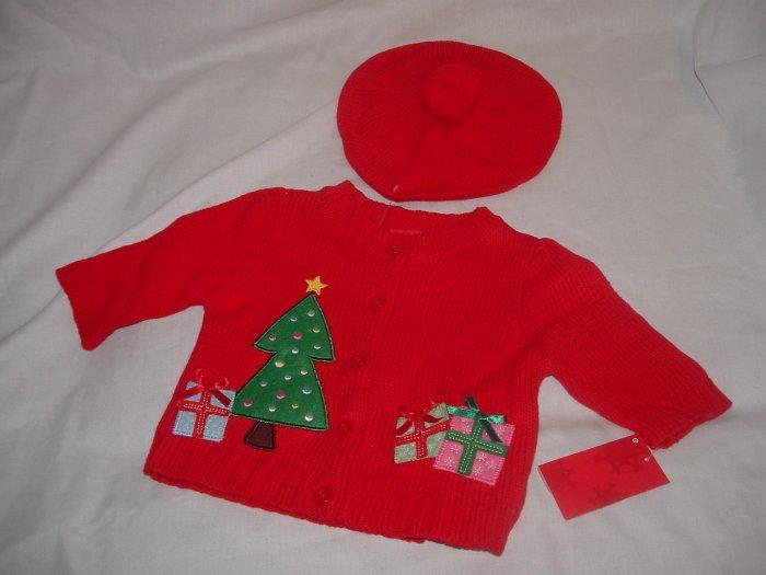 NWT Girl CHRISTMAS 2pc Cardigan Hat Sweater Set Sz 3 Mo