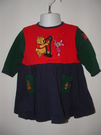 Girls DISNEY STORE Pooh Xmas Dress Sz 18 Months *EUC*