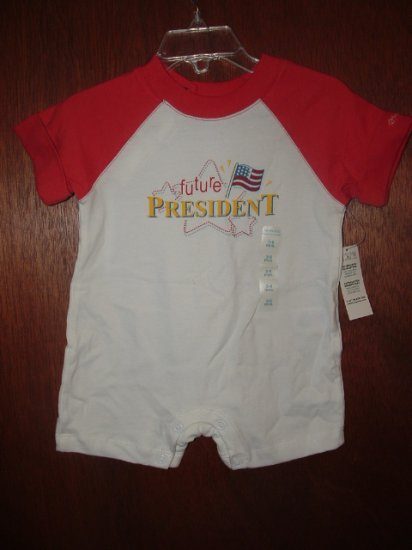 NWT Boys CHILDRENS PLACE Future President Romper 3-6 Mo