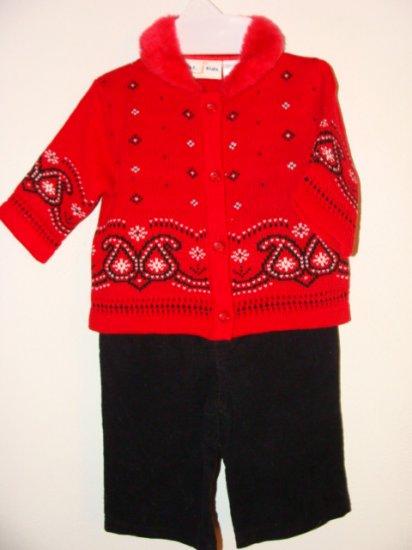 *NWOT* Girls B.T. KIDS 3pc Pant/Sweater/Shoes Set 3-6 Mo