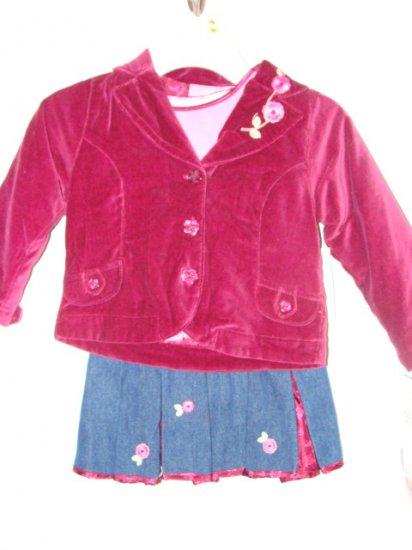 **NWT** Girls 4pc Skirt/Jacket/Hat Set Size 3T !CUTE!