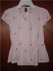 *NWT* Girl BABY GAP Gathered Waist Short Sleeve Shirt 4