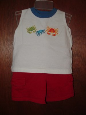 Boys GYMBOREE Surf Camp Tank Top Short Set 3-6 Mo *EUC*