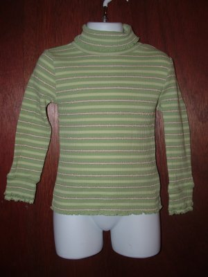 Girl CHILDREN'S PLACE Green Stripped Turtleneck 4 *EUC*