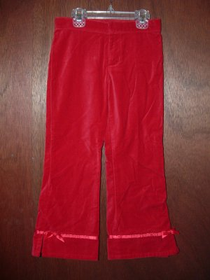 NWT Girls CHILDRENS PLACE Red Velour Adjustable Pants 5