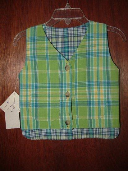 NWT Boy MAK THE YAK Boutique Plaid Reversible Vest 6 Mo