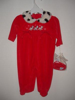 NWT Girl 2pc DISNEY DALMATION Holiday Pant Romper 3-6mo